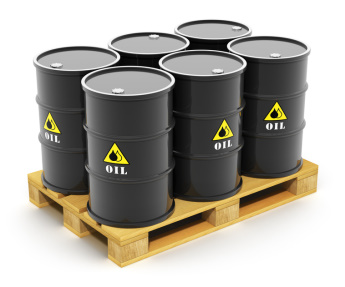 Oil barrels on shipping pallet